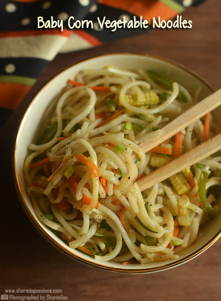 Baby Corn Vegetable Hakka Noodles