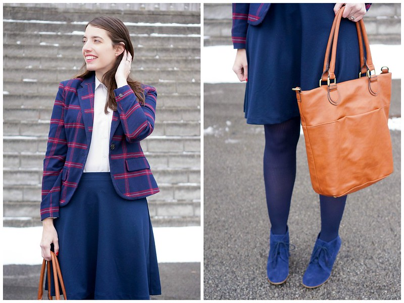 plaid blazer + navy skirt + Uniqlo rayon blouse + cognac tote; Style On Target