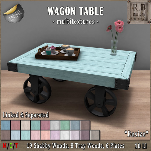EXCLUSIVE NEW!!! *RnB* Wagon Table -Multitextures- 19 Shabby Woods (copy)