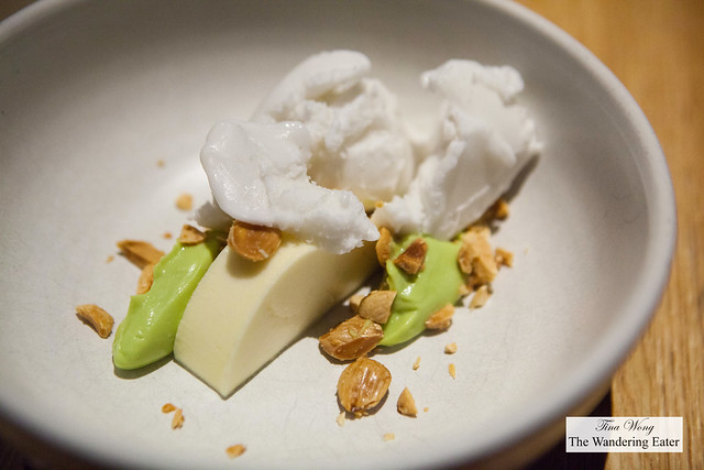 Lemon mousse, avocado cream, Marcona almonds, coconut sorbet