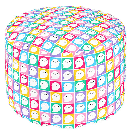 Colourful Ghosts pouffe at Zazzle