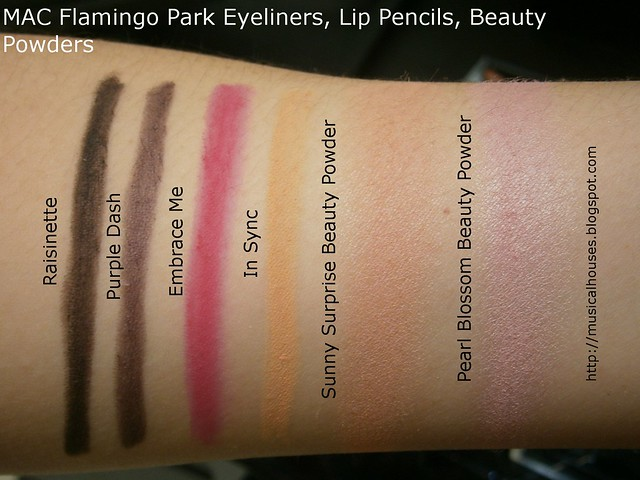 MAC Flamingo Park Swatches Eyeliners Lip Pencil Beauty Powders