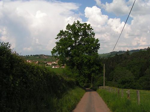 20080511 20893 0901 Jakobus Weg Baum Ortschaft Wolken Zaun