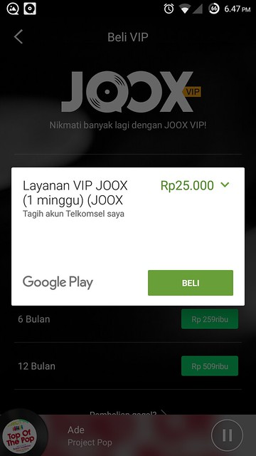JOOX Subscribtion Purchase