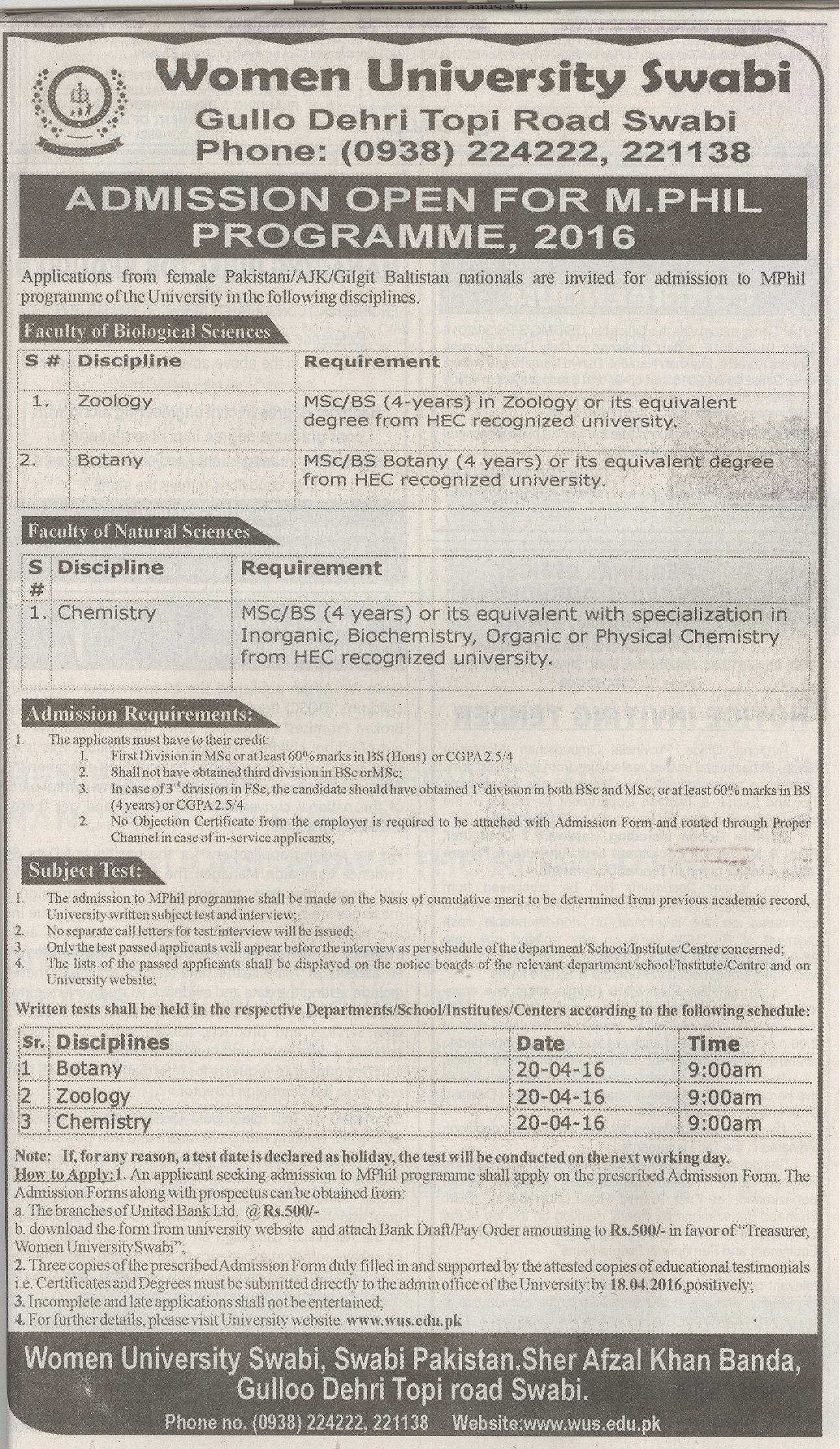 Women University Swabi Admission 2016