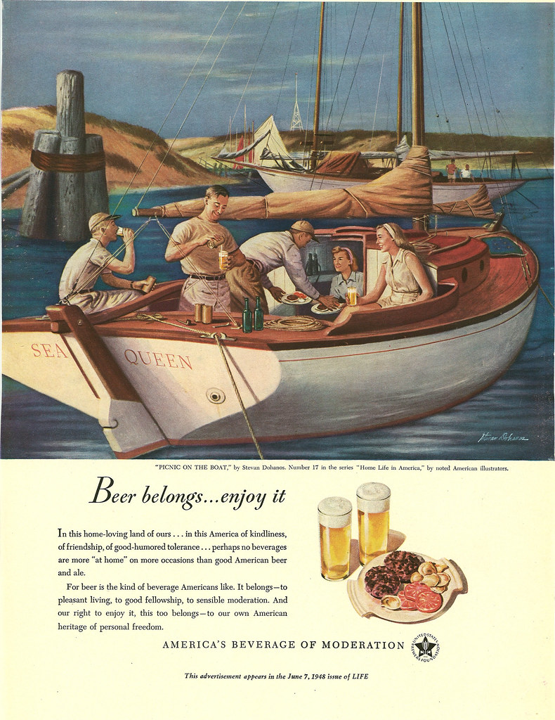 017. Picnic on the Boat by Stevan Dohanos, 1948