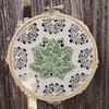 The latest #leaf and #lace #hoopart up in the #etsy shop, made with vintage lace and a vintage hoop, and felt made from recycled plastic bottles. The leaf was traced from one of our native vine maples. #embroidery #handcraft https://www.etsy.com/listing/2