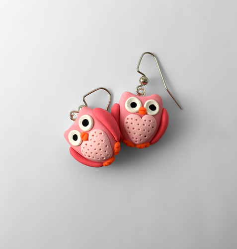 Owl Earrings - Pink