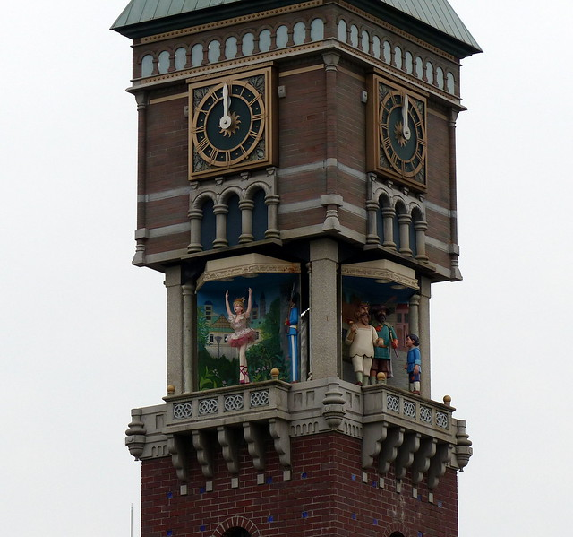 At noon, the clock tower open up!