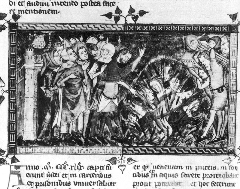Burning of Jews during the Black Death epidemic in 1349. From Bibliothèque royale de Belgique
