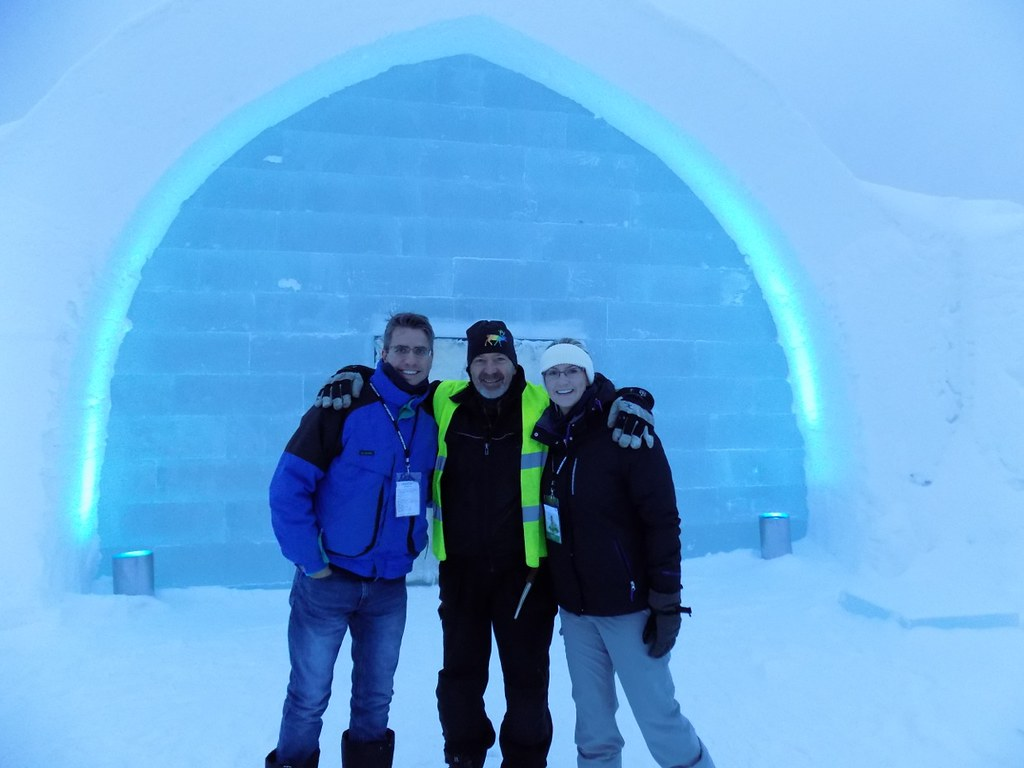 Jan-Erik and Caitlin visiting the IceHotel in Jukkasjarvi, Sweden. Pictured with us is Arne Bergh, Creative Director at the IceHotel.