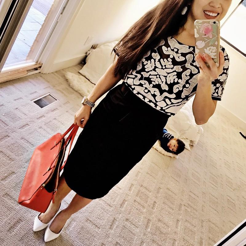 cute & little blog | petite fashion | black white lace top, black pencil skirt, red satchel, white pumps | spring monochrome outfit