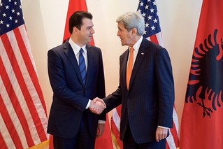 Secretary Kerry Shakes Hands with Albanian Opposition Party Leader Lulzim Basha