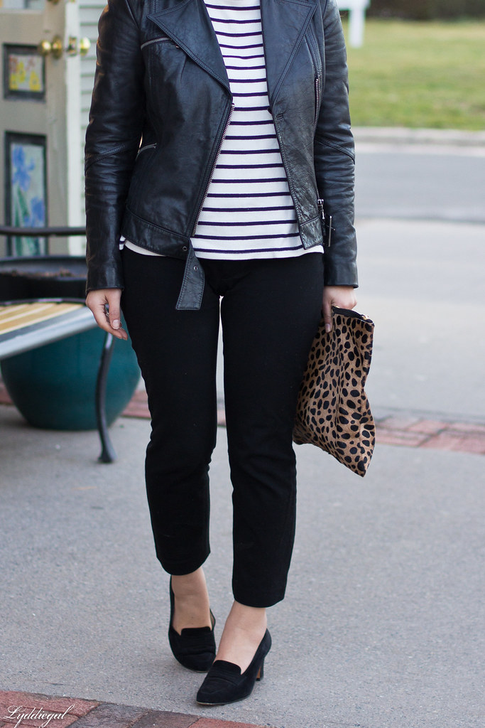 striped tee, black leather jacket, leopard clutch-3.jpg