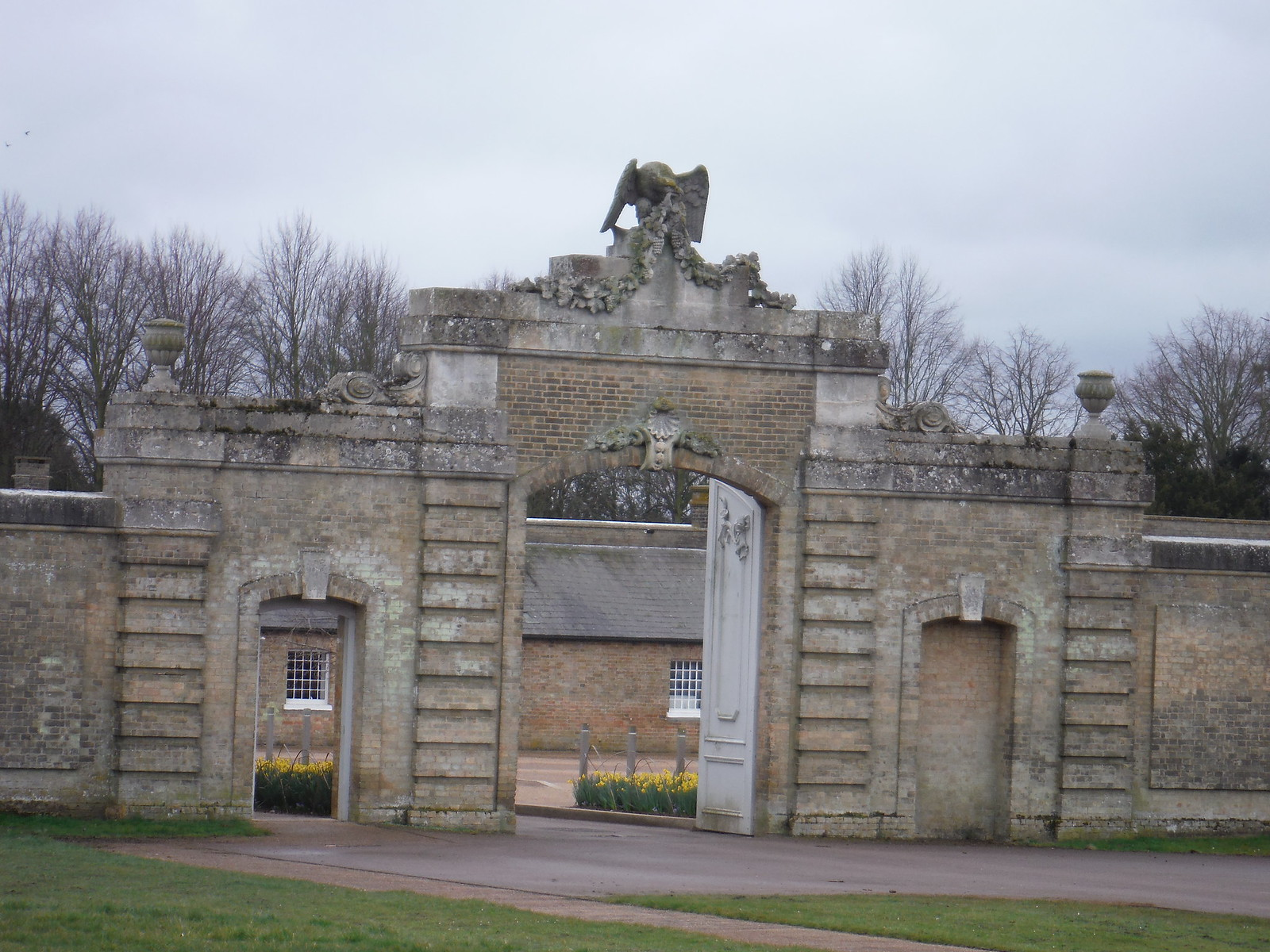 Wrest Park, entrance gate to Visitor Car park SWC Walk 231 Flitwick Circular