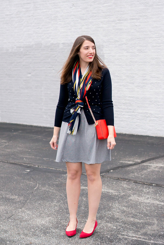 polka dot and stripe print mixing; navy and white polka dot sweater, red heels, spring work outfit | Style On Target blog