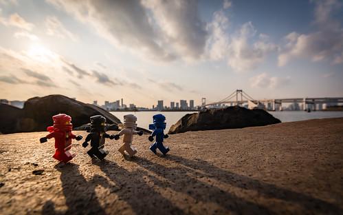 blue sunset red white black beach japan skyline toy tokyo jay lego cole outdoor ninja kai minifig zane minifigure ninjago