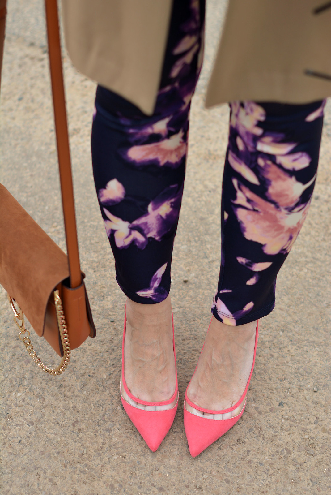 Floral leggings with longline blazer, coral ponted heels | Not Dressed As Lamb