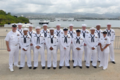 U.S. Pacific Fleet Sea Sailor of the Year (SOY) finalists — including Sea SOY Hospital Corpsman 1st Class Corey Smith, back row left, and Shore SOY Navy Diver 1st Class Kristoffer Ilagan, back row second from right — and Pacific Fleet senior enlisted leaders pose for a group photo earlier this week. (U.S. Navy/MC1 Phillip Pavlovich)