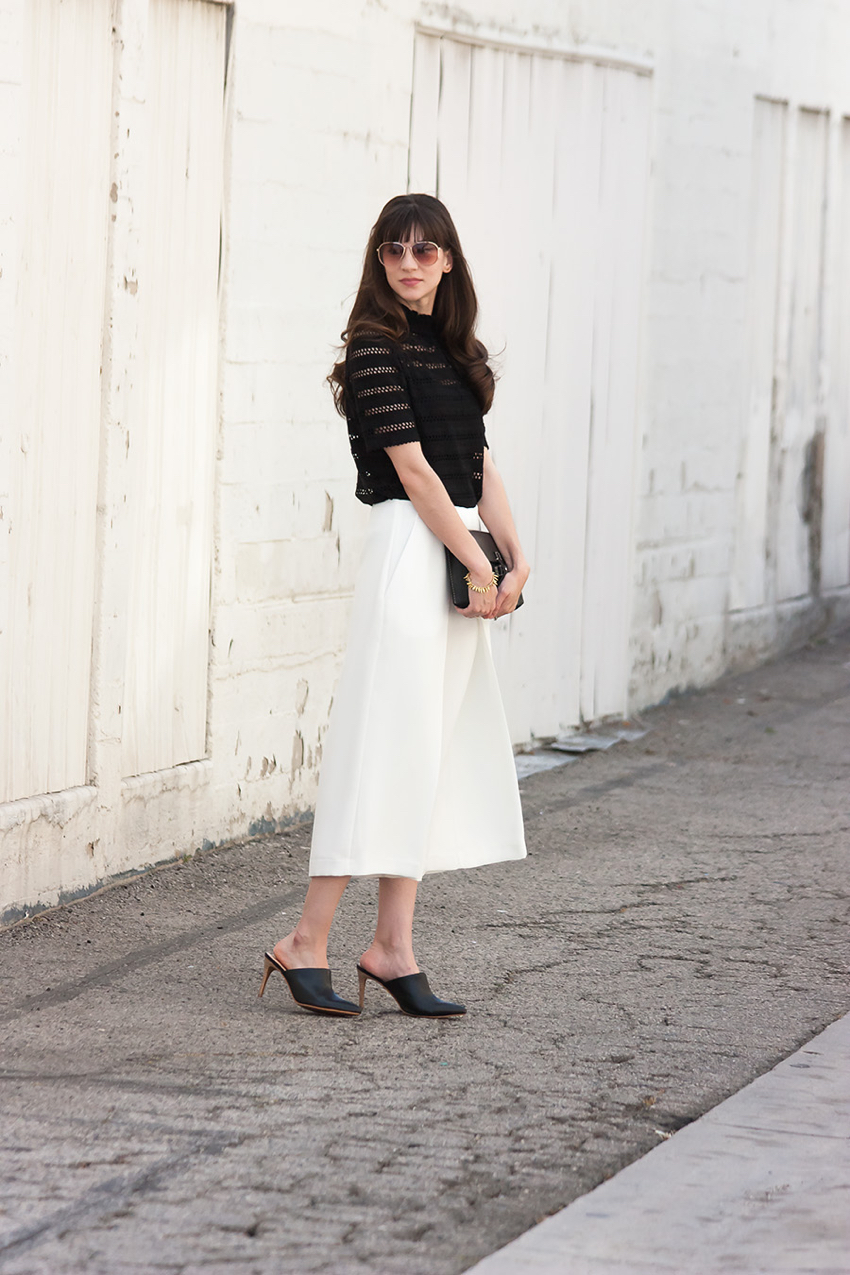 White Culottes, Black Lace Top