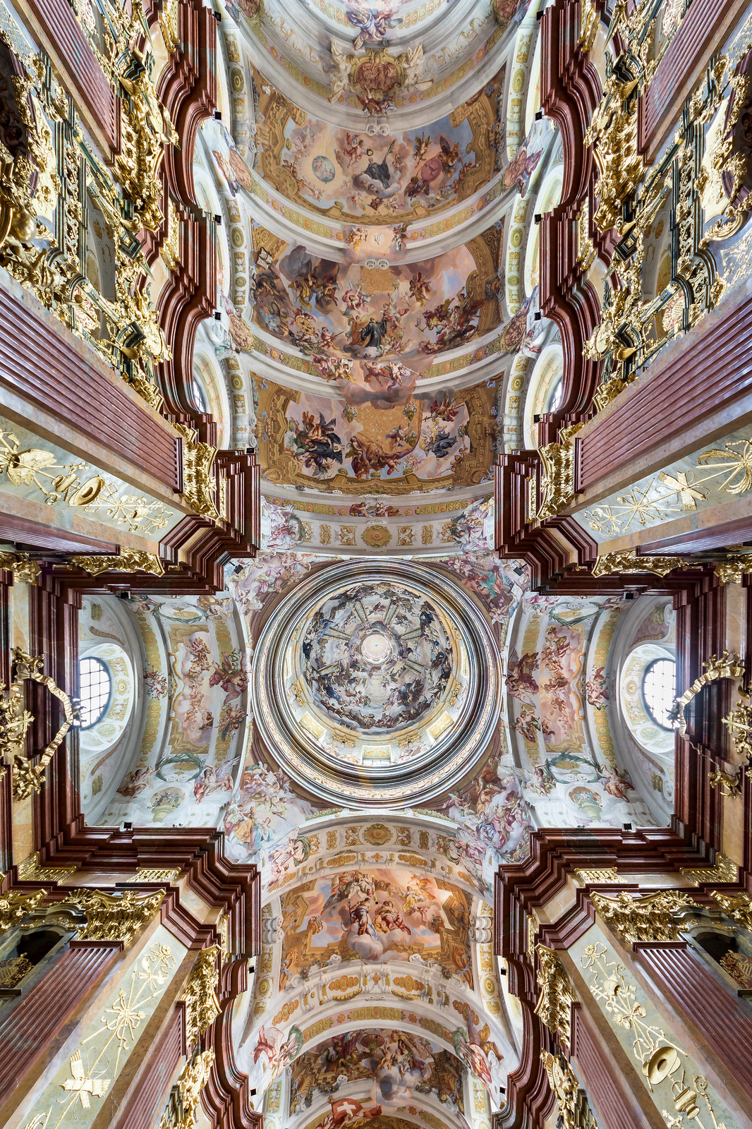 Frescos of dome and ceiling in Melk Abbey Church (Austria) by Johann Michael Rottmayr (1716-22). Credit Uoaei1