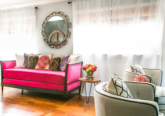 Neutral Gray Paint Color with Bold Pink Furniture | Home Decor Living Room Inspiration