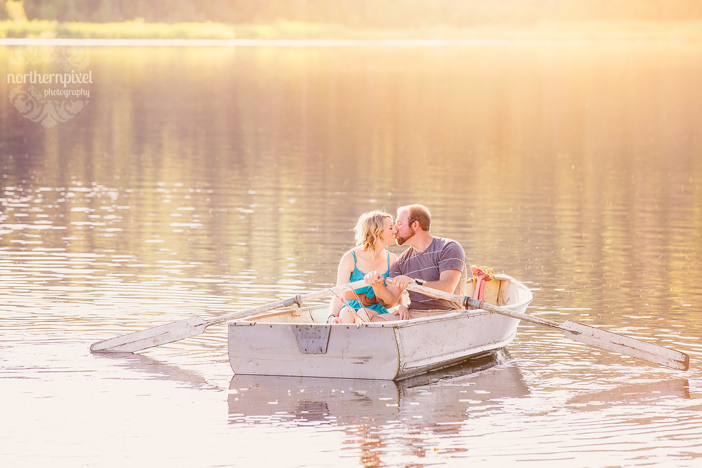 Romantic Rowboat Engagement Session - Prince George BC