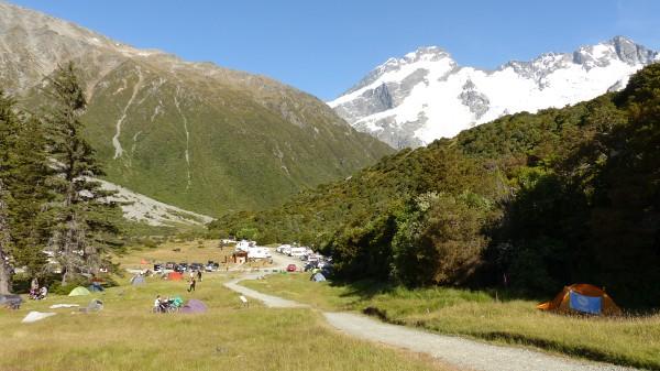 Camping à côté du mont Cook