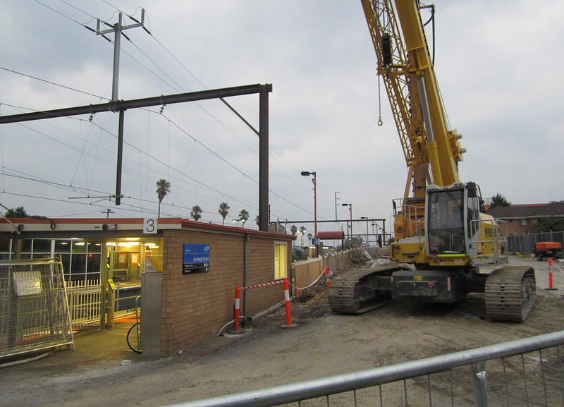 Bentleigh station during level crossing works