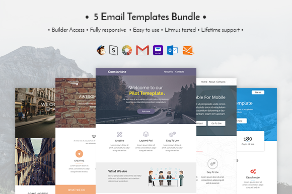 Creativemarket 5 Email templates bundle