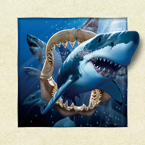 Shark Wall Art shark big lenticular 3d picture animal poster painting home decor