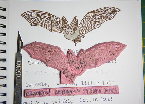 Rubber Stamp Bat Print, Close Up