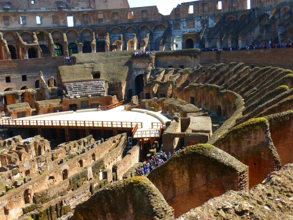 view of the underground area of the Colosseum