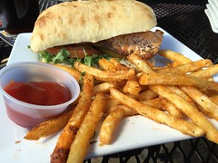 Grilled Salmon & Beer Battered Fries, Auburn Alehouse