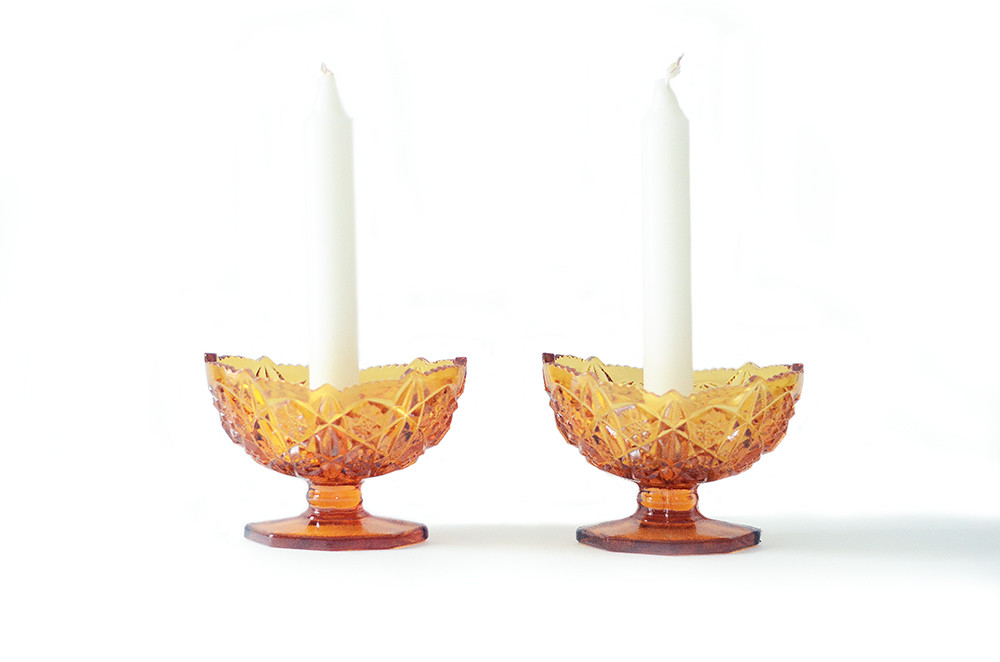Two Vintage Amber Glass Candleholders