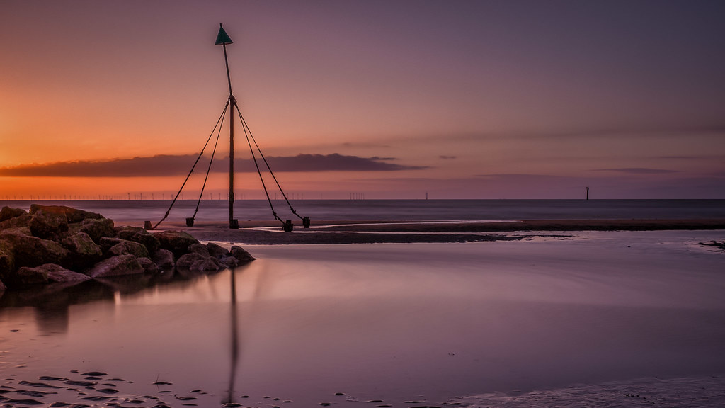 Sunset at Prestatyn Beach