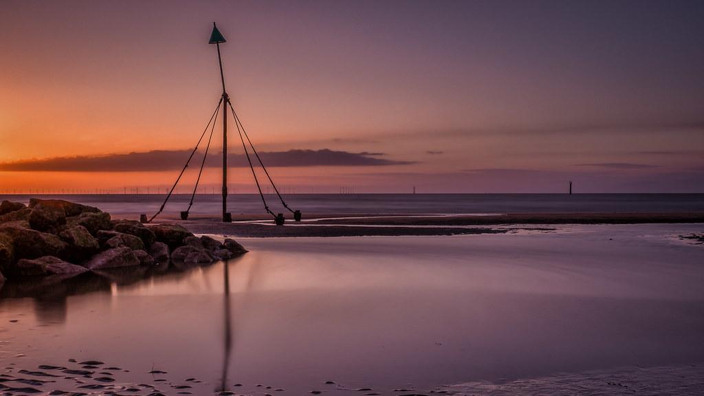 Sunset at Prestatyn Beach