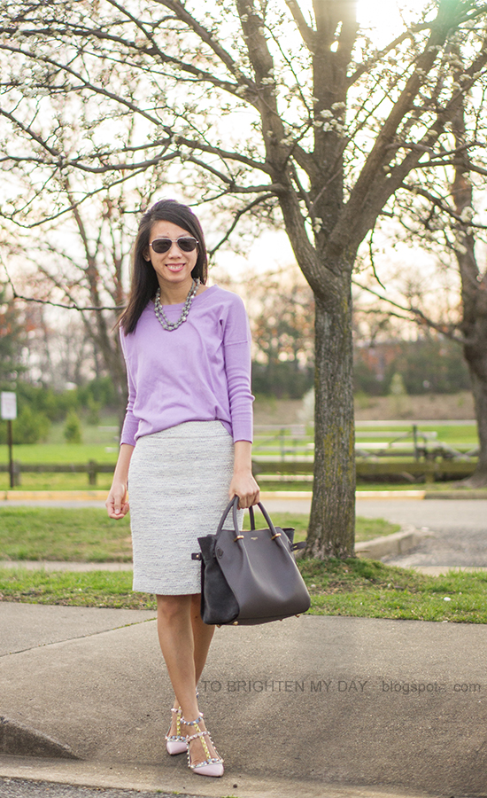 gray silk wrapped pearl necklace, lilac sweater, tweed pencil skirt, watercolor studded flats