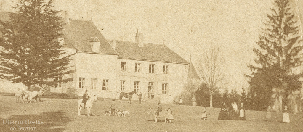 Unidentified French castle with owners and domestic workers (detail)