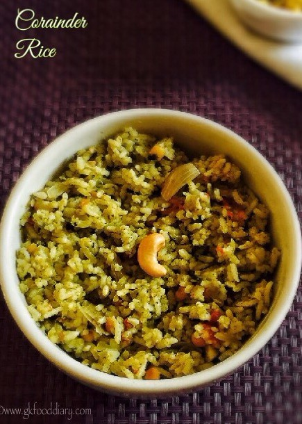 Corainder Rice Recipe for Toddlers and Kids2