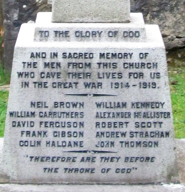 West Bridgend Church War Memorial Names