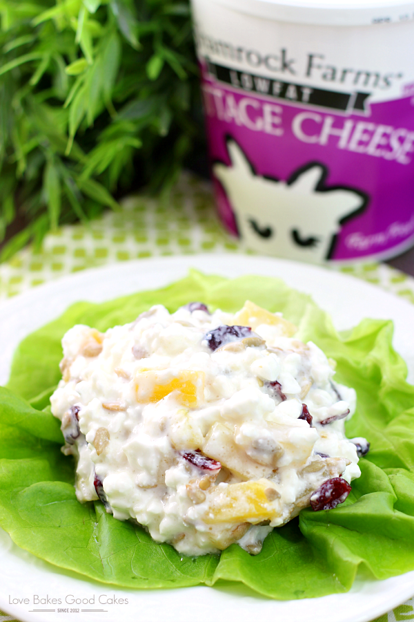 Pineapple Cottage Cheese Salad on a plate with a carton of cottage cheese.