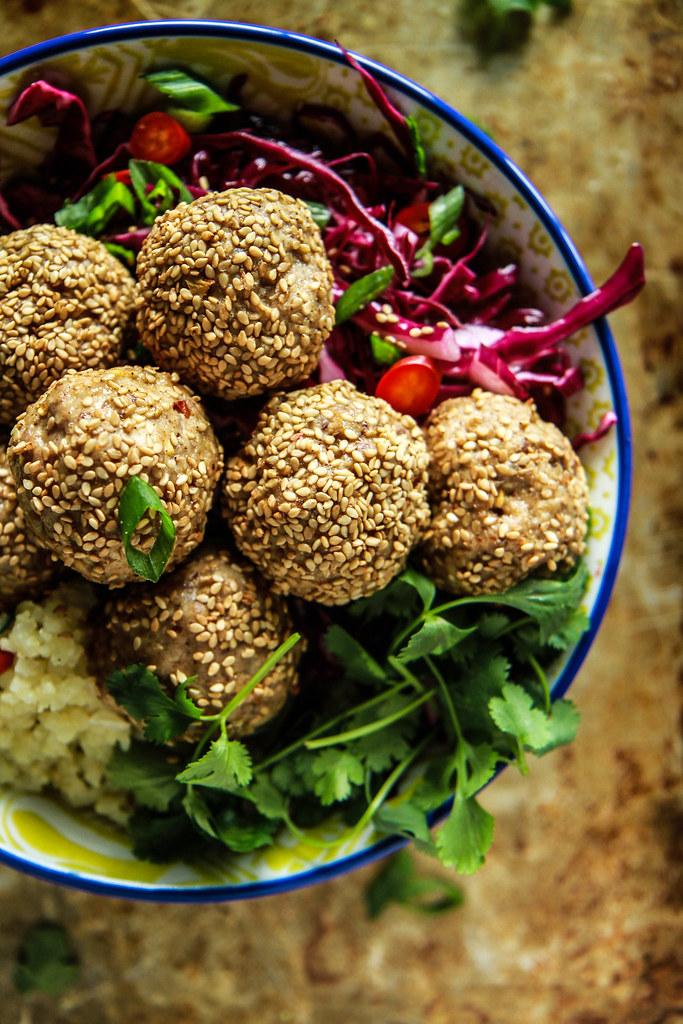 Paleo Sesame Meatball and Cauliflower Rice Bowl from HeatherChristo.com