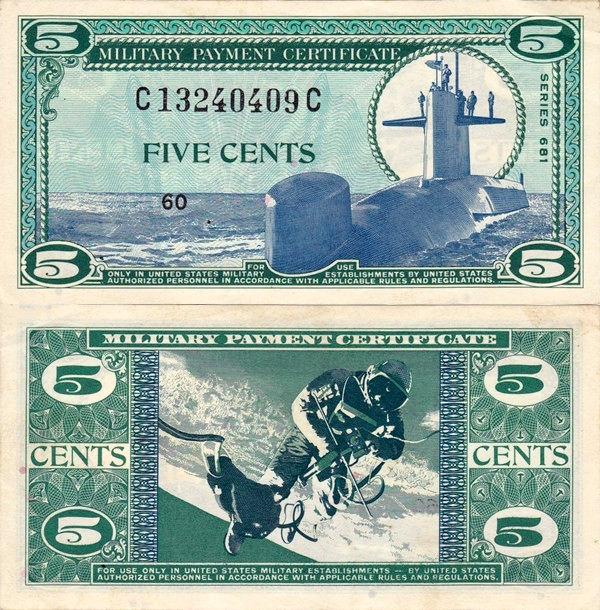 5 centov USA 1969, vojenské platidlo PM75 AU