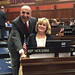 Rep. Selim Noujaim posed for a photo at his desk in the House of Representatives with Sacred Heart High School President Eileen Regan on Monday, April 25.