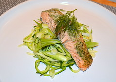Dill Marinated Salmon, Spiralized Courgette, Sprin…