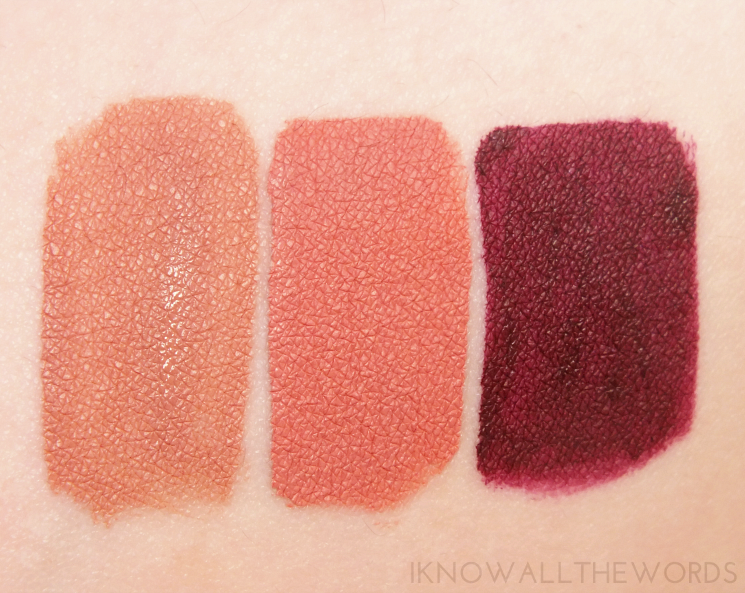 La Splash Forbidden Kiss Velvet Matte Liquid Lipstick swatches exposed, irresistible, mistress