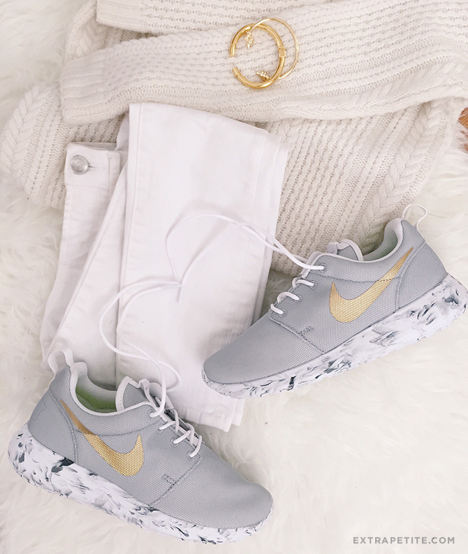 nike roshe one womens id custom gray gold marble sole sneakers