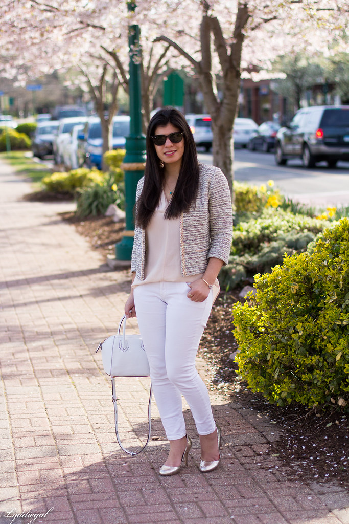 silk blouse, jacket, white jeans, silver pumps-1.jpg