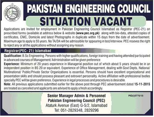 Pakistan Engineering Council Registrar Required